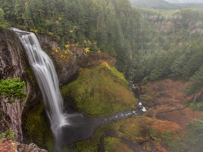 Oregon is blessed with so many many waterfalls. Still at 286 feet, Salt Creek is definitely one of the most impressive. Located at Hwy 58 around 20 miles east of Oakridge, it is easily accessible. The view point is just 20 feet from the parking, but it is well worth to take the hike down to the base of the falls. There are many views along the canyon rim as you hike down, but I still liked this view from the top. Though the scale of the falls is not very prominent in this view, I dig how this showcases the falls along with her landscape. One could just watch the fog play hide and seek - all day. The cool breeze of the enduring autumn fog along with a hint of falls colors added to the grandeur.
