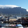 Capetown's table mountain with the new pier and mall