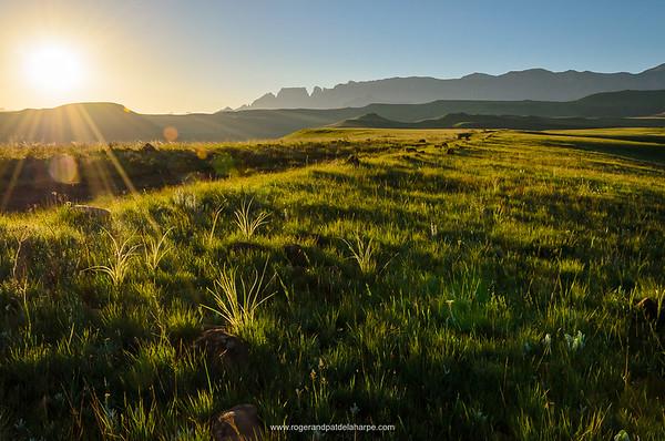 Drakensberg Scenery in the Cathedral Peak region of the Ukhahlamba Drakensberg Park. KwaZulu Natal. South Africa.