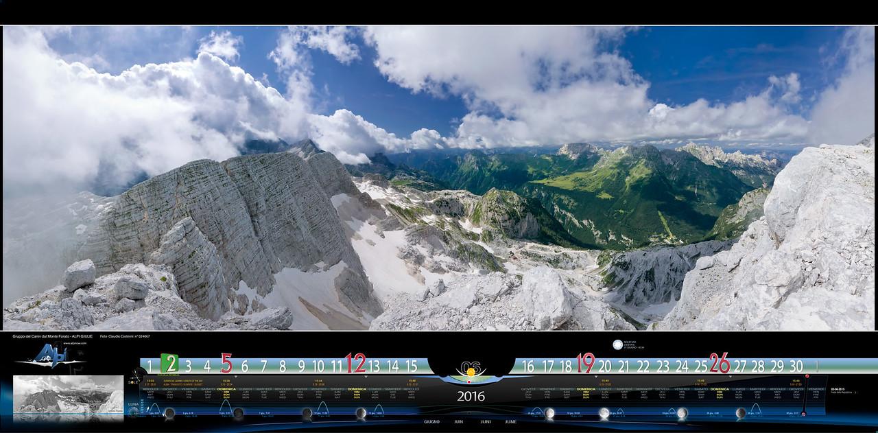 GIUGNO - Ampia vista SO-NE dal Monte Forato nel gruppo del Canin sulla Val Raccolana ed i Gruppi del Montasio e dello Jof Fuart