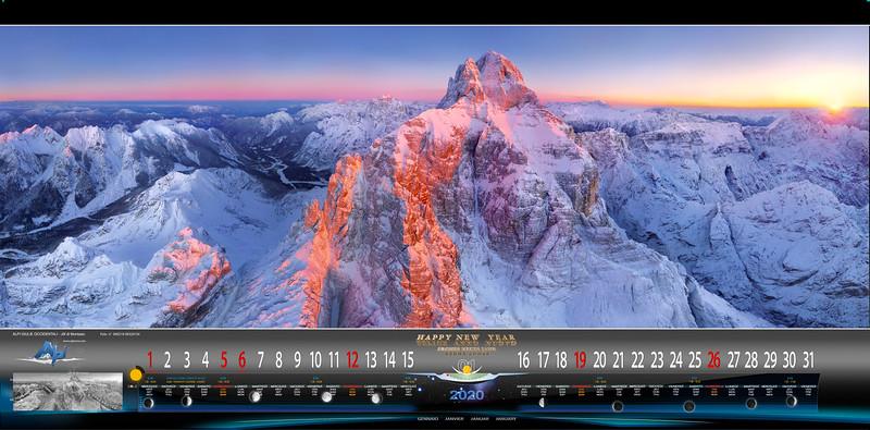GENNAIO  Jof di Montasio bianco e rosso al tramonto