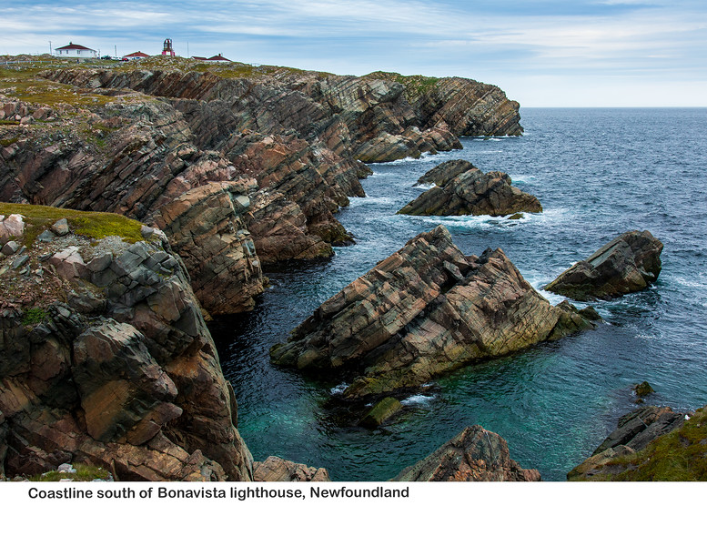 View of the coastline with the Bonavista Lighthouse in the background
