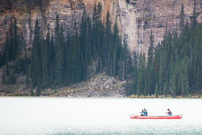 A mountain, a lake, a canoe. Lake Louise
