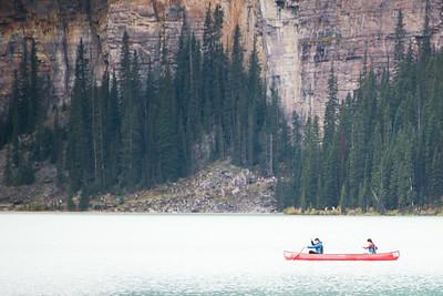 A mountain, a lake, a canoe. Lake Louise