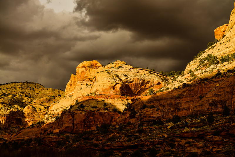 Trail to Calf Creek lower falls.Threatening rain late afternoon<br /> Grand staircase Escalante National Monument, Utah