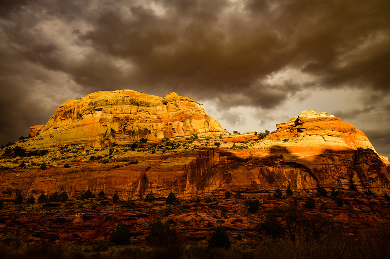 Trail to Calf Creek lower falls,late afternoon threatening rain<br /> Grand Staircase Escalante National Monument, Utah