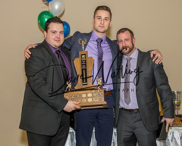The Don Phelps Leadership award goes to Captin Kyler Newman. Presented by Goalie Coach Kevin Sajinovic (L) and  Assitant Coach, Jason Hanna
