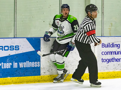 Carter Anderson celebrates after scoring for Calgary Canucks @ Olds Grizzly's, Friday, Nov 22.