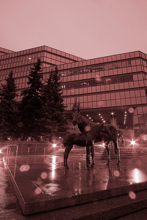 Horse statues in front of the Calgary Municipal Building (monochromed)