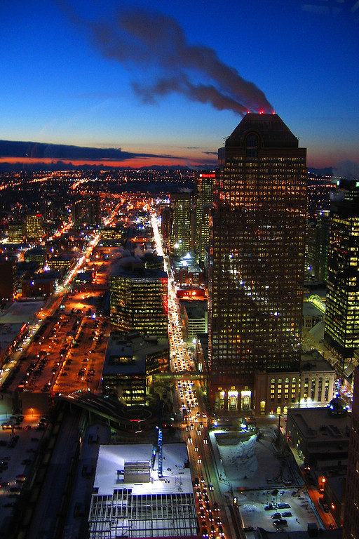 This was taken with Cly's cheap little point & shoot camera from the observation deck of the Calgary Tower.  Cly had it jammed against the glass.  It was -28 degrees outside; pretty cold for fall.