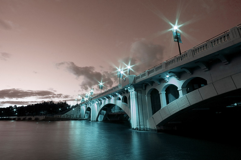 View of the Center St bridge from the southwest end (partially destaurated with adjusted hue)