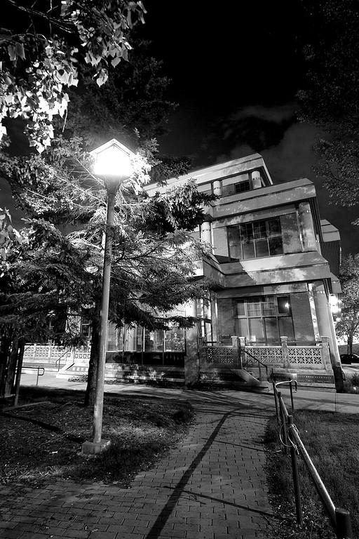 Lamp beside the Chinese Senior Citizen Center (monochromed)