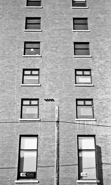 Pole and Windows, Calgary 2011<br /> Ricoh 500 Ilford FP4