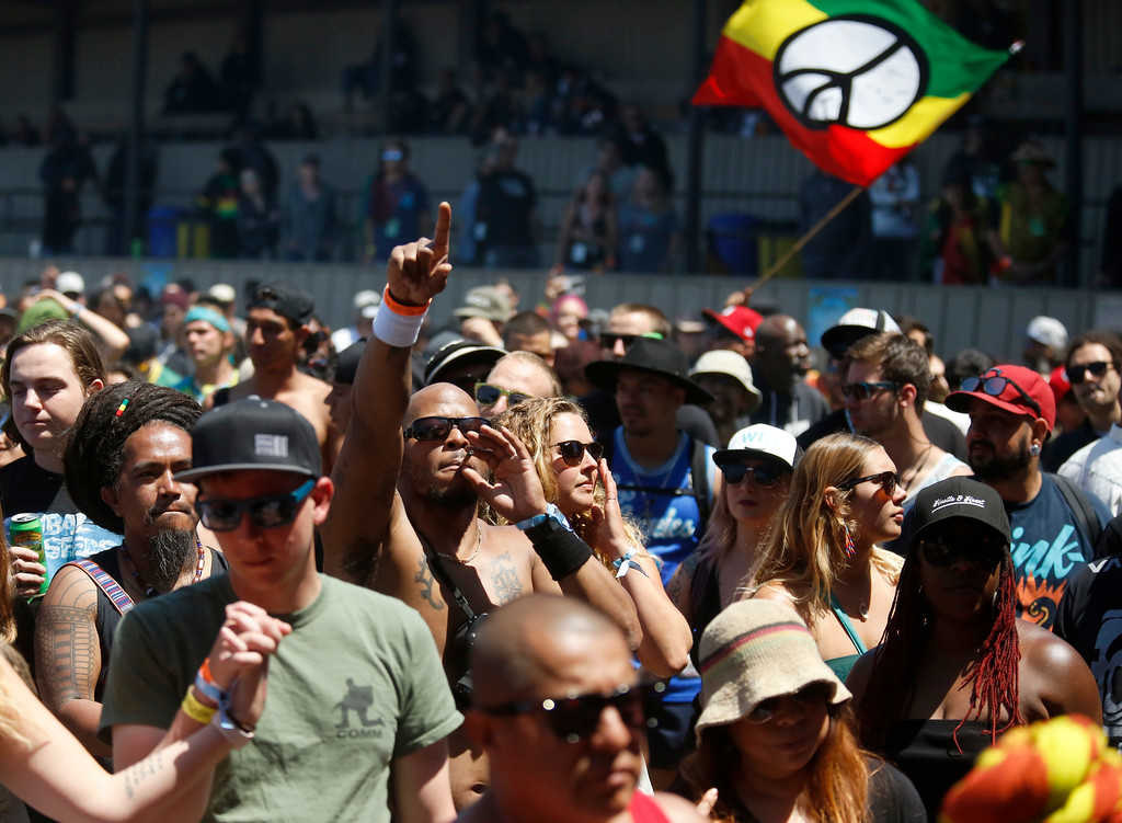 . Reggae fans dance to the Original Wailers during the 2018 California Roots Music and Arts Festival (Cali Roots) at the Monterey County Fairgrounds and Event Center on Sunday May 27, 2018. (David Royal/ Herald Correspondent)