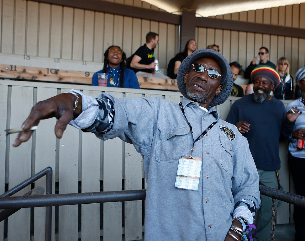 ". Tito Cambell of Jamaica, family and friend dance as the Original Wailers perform ""Buffalo Soldier\"" during the 2018 California Roots Music and Arts Festival (Cali Roots) at the Monterey County Fairgrounds and Event Center on Sunday May 27, 2018. (David Royal/ Herald Correspondent)"