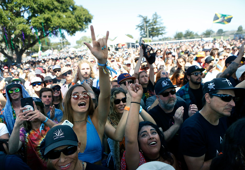 . Fans watch Australian artist Tash Sultana perform during the 2018 California Roots Music and Arts Festival (Cali Roots) at the Monterey County Fairgrounds and Event Center on Sunday May 27, 2018. (David Royal/ Herald Correspondent)
