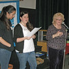 Emma Lammawin, l-r, a member of Holy Trinity, Thousand Oaks, and LYO president, and Courtney Bassler, Emmanuel Lutheran, North Hollywood, synod council youth representative and LYO board member, and Dianne Tillman, president of the Southwest California SWO open the event with singing.
