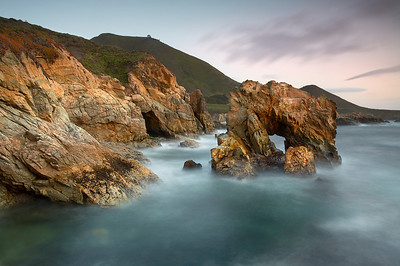 Soberanes Point, in Big Sur near Carmel California is a rugged piece of coastline backed by 4,000 foot mountains. I wanted to isolate this arch and give it a 3D look by doing a long exposure so that the waves do not distract from the rock forms. Also, it was isolated more when I made the top of the arch break the horizon just in one spot. I had to run across a low point in between waves to get out to a rock similar to the arch  in order to get this composition.