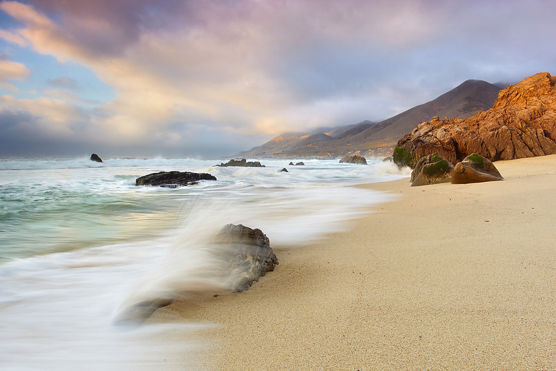 The seventh in a series.  A soft light met the pounding surf at the main beach in Garrapata State Park at the north end of Big Sur, near Carmel, California.  This is looking north towards Carmel and Monterey. This state park could definitely be one of the most scenic national Parks in the US if it were designated as such!