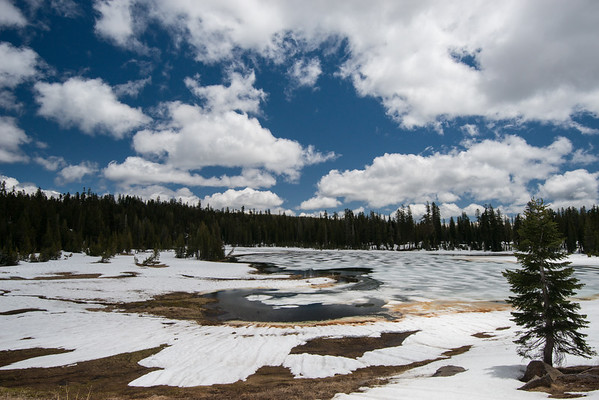 Cascade Mountains; Lassen Volcanic National Park; crumbaugh lake; lake The ice pattern seemd as if waves froze in place.