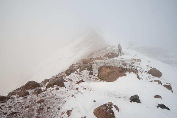 Cascade Mountains; Lassen Volcanic National Park; california; lassen peak; national park; people On the way down, the visibility was poor. We could barely see the trail ahead of us.