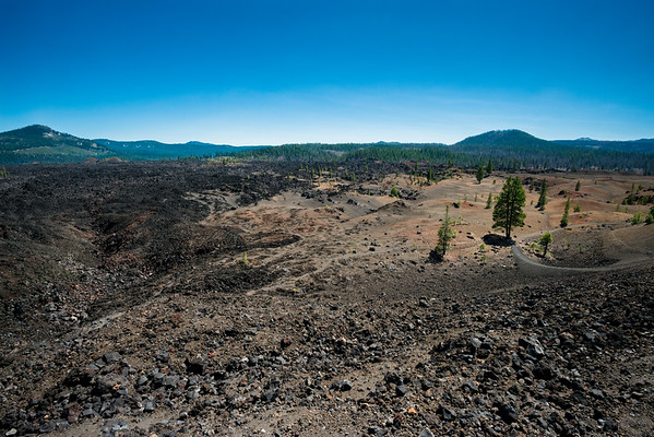Cascade Mountains; Lassen Volcanic National Park; california The Painted Dunes meet the Fantastic Lava Beds.