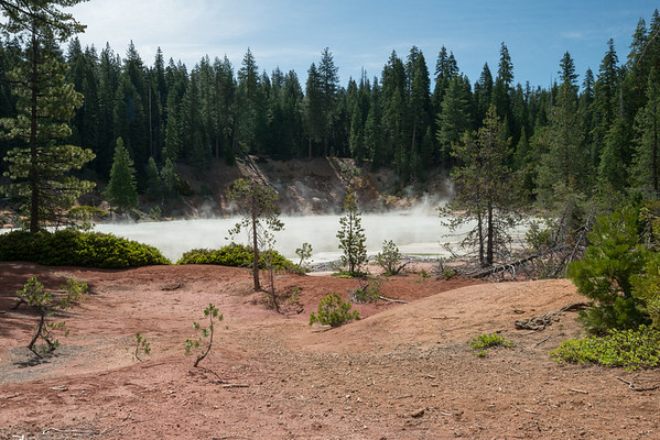 Cascade Mountains; Lassen Volcanic National Park; california; cold boiling lake; lake Like a scene out of a fantasy book, the steam rose from the lake.