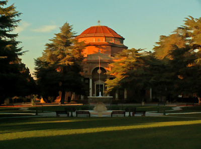 Rotunda Building - Sunken Gardens Park Edward Gardner Lewis, a successful magazine publisher from the East, founded the community of Atascadero in 1913 as a utopian, planned colony.   The centerpiece of Lewis' planned community was an Italian Renaissance-style building, which was the home to Atascadero City Hall and the Museum until it was damaged in the 2003 earthquake. Built between 1914 and 1918 with bricks made from local clay, this unique and beautiful building has become one of California's Historical Landmarks One of the few surviving examples of the original urban design can be found in the Rotunda Building located near the Junior High School on Palma Avenue in the Sunken Gardens public park. Designed by Walter D. Bliss of San Francisco, construction was completed in 1918 at a cost of $180,000. It was the headquarters for the Atascadero Colony, built of reinforced concrete and locally produced brick, it had also served as a private school for boys, a veteran's memorial building, and county offices.