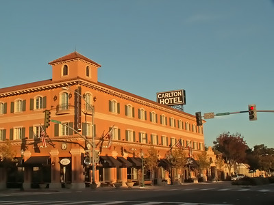 Another example of Atascadero's early architecture is The Carlton Hotel, built in 1929, located just west of the Sunken Gardens on El Camino Real, the city's main commercial street.