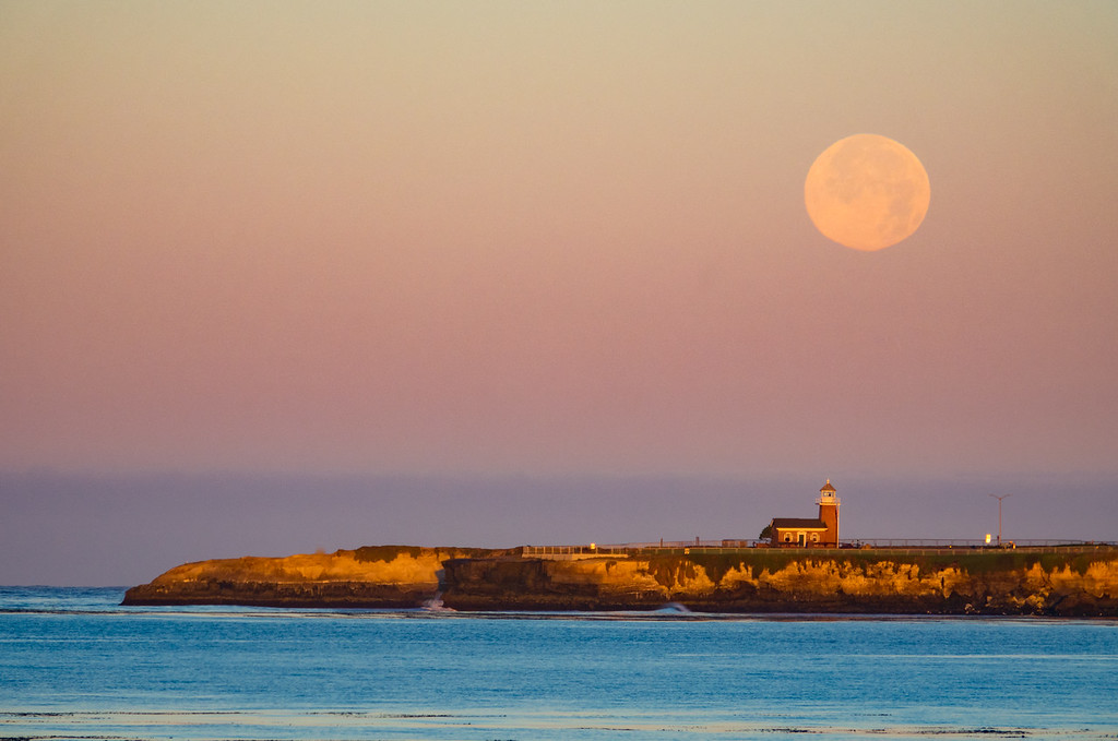Full Moon set over Santa Cruz West Cliff