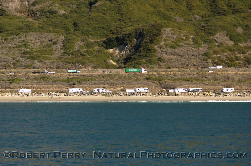 Campgrounds, Ventura, with traffic on Highway One.