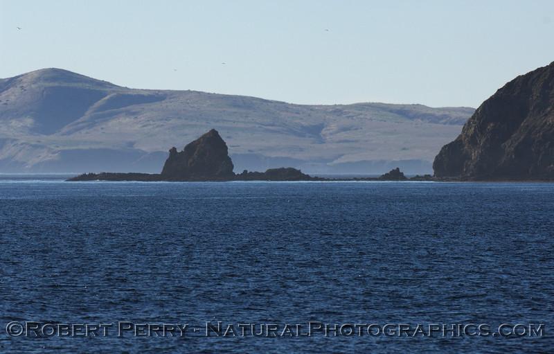 Cat Rock, south side of Anacapa, looking west towards Yellowbanks Ancorage, Santa Cruz Island.