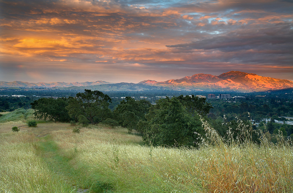 This was the path to take in order to get a superb view of an unusual sunset spotlighting Mt. Diablo. Taken in the hills above Pleasant Hill, California.  This happened just after I made Diablo Dusk as the sky continued the best light show I'd ever seen here.
