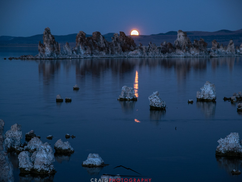 Mono Lake California and moonrise