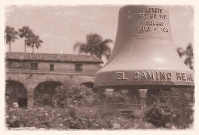 "Another ""vintage"" look - the old bell in the Mission courtyard."
