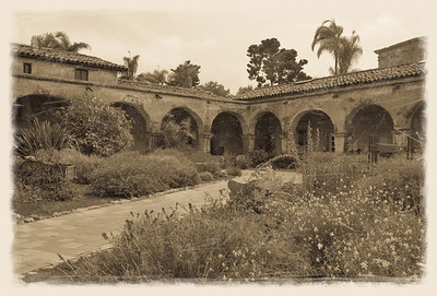 Mission San Juan Capistrano -- founded in 1776 by Spanish Catholics of the Franciscan Order. (I roughed this photo up a bit with scratches, etc. to give it an antique feel.)