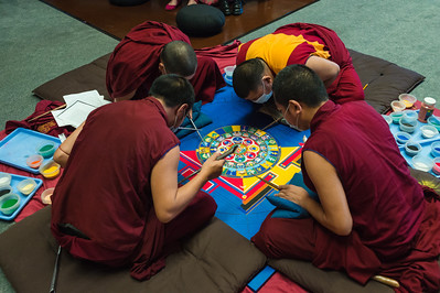 On Wednesday, the sand mandala was taking shape.