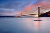 """After I made """"Low Tide at the Golden Gate"""" (above), I waited to the sun to set so I could get a long-exposure for the smooth and minimal look.  I'm glad the colors stayed around and the blues even intensified.  I actually had to slightly de-saturate the sky to get back the detail.  The color was too strong otherwise.  Only at low tide are those rocks in front visible."""