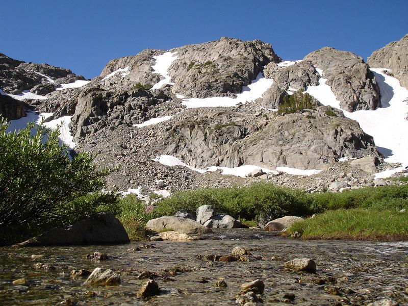 Looking S from Sam Mack Meadow.<br /> <br /> High Sierra: North Fork Big Pine Creek: Sam Mack Meadows: High Glacier Camp: Palisade Glacier: Palisades: Mount Sill: Swiss Arete