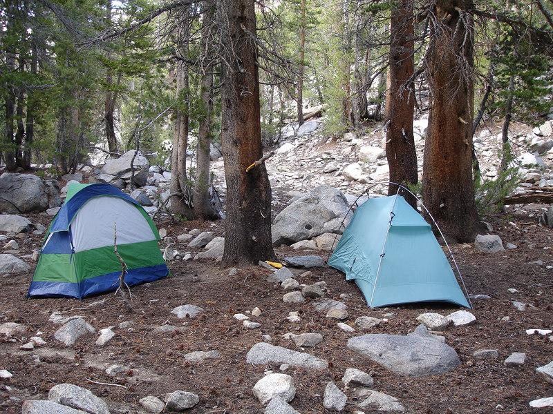 Tents on the Glacier Trail well below Sam Mack Meadow.<br /> <br /> High Sierra: North Fork Big Pine Creek: Sam Mack Meadows: High Glacier Camp: Palisade Glacier: Palisades: Mount Sill: Swiss Arete