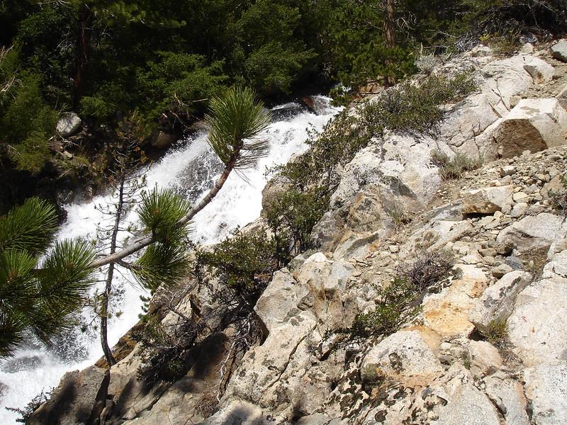 At first the waterfall.<br /> <br /> High Sierra: North Fork Big Pine Creek: Sam Mack Meadows: High Glacier Camp: Palisade Glacier: Palisades: Mount Sill: Swiss Arete