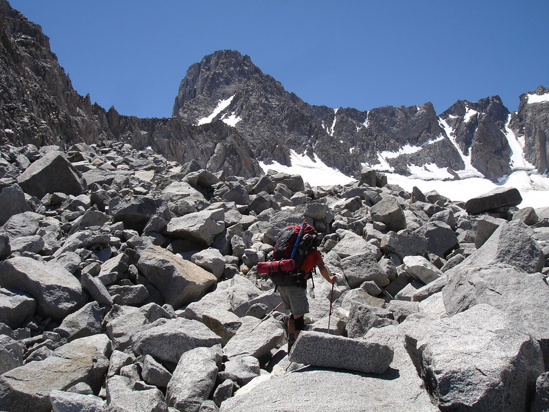 On the morain about 30 minutes from Glacier High Camp. Mount Sill dominates the skyline.<br /> <br /> High Sierra: North Fork Big Pine Creek: Sam Mack Meadows: High Glacier Camp: Palisade Glacier: Palisades: Mount Sill: Swiss Arete