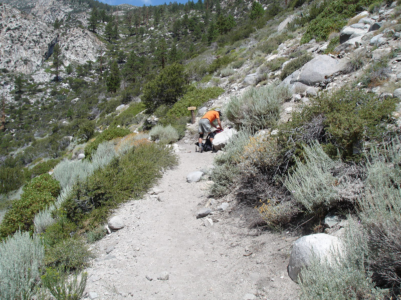 We pause for a short break.<br /> <br /> High Sierra: North Fork Big Pine Creek: Sam Mack Meadows: High Glacier Camp: Palisade Glacier: Palisades: Mount Sill: Swiss Arete