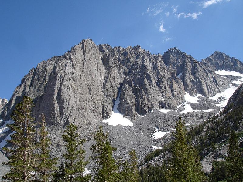 Temple Crag.<br /> <br /> High Sierra: North Fork Big Pine Creek: Sam Mack Meadows: High Glacier Camp: Palisade Glacier: Palisades: Mount Sill: Swiss Arete