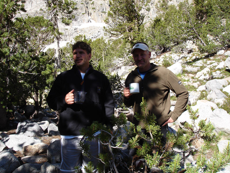 Our neighbors, Gary and John, at Sam Mack Meadow. Gary and John climbed Mount Sill and Polemonium Peak the day before, returning to their camp at 8:00p.<br /> <br /> High Sierra: North Fork Big Pine Creek: Sam Mack Meadows: High Glacier Camp: Palisade Glacier: Palisades: Mount Sill: Swiss Arete