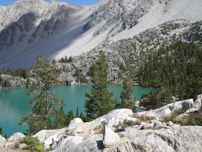 Third Lake.<br /> <br /> High Sierra: North Fork Big Pine Creek: Sam Mack Meadows: High Glacier Camp: Palisade Glacier: Palisades: Mount Sill: Swiss Arete