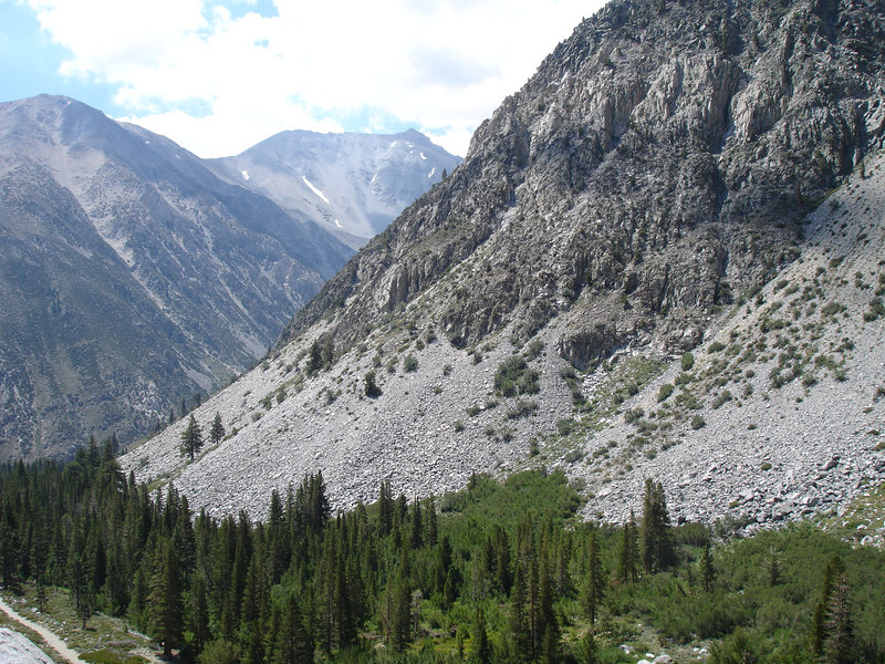 Look down Big Pine Creek drainage.<br /> <br /> High Sierra: North Fork Big Pine Creek: Sam Mack Meadows: High Glacier Camp: Palisade Glacier: Palisades: Mount Sill: Swiss Arete