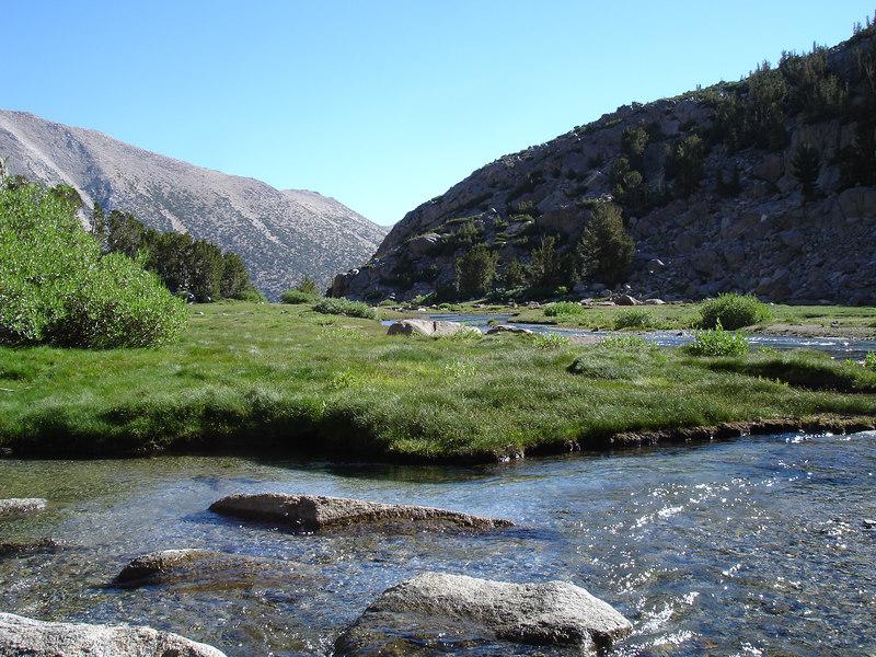 Looking NE from Sam Mack Meadow.<br /> <br /> High Sierra: North Fork Big Pine Creek: Sam Mack Meadows: High Glacier Camp: Palisade Glacier: Palisades: Mount Sill: Swiss Arete