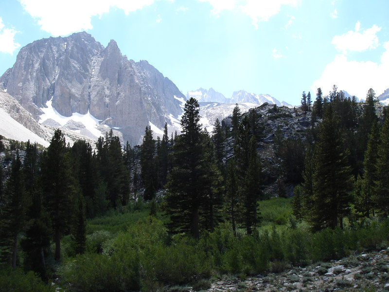 Temple Crag, very popular with Bishop locals.<br /> <br /> High Sierra: North Fork Big Pine Creek: Sam Mack Meadows: High Glacier Camp: Palisade Glacier: Palisades: Mount Sill: Swiss Arete