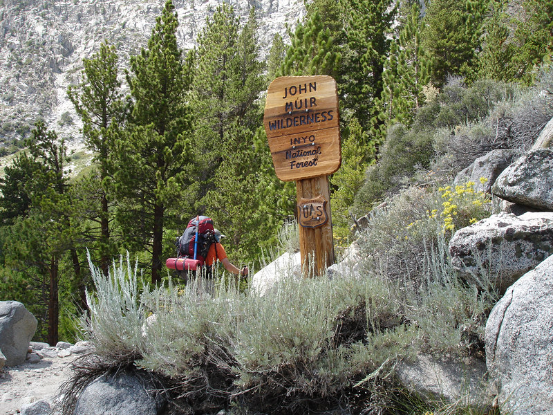 Entering the John Muir Wilderness. We met many dayhikers and their four-legged companions.<br /> <br /> High Sierra: North Fork Big Pine Creek: Sam Mack Meadows: High Glacier Camp: Palisade Glacier: Palisades: Mount Sill: Swiss Arete